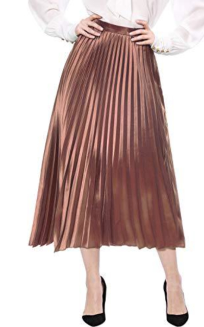 Allegra K Accordion Pleats Metallic Midi Skirt