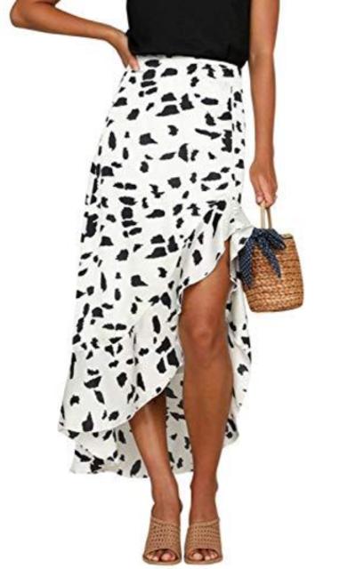 Simplee Printed A Line Ruffle Asymmetrical Skirt