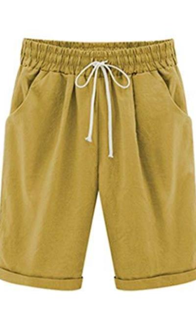 Vcansion Loose Elastic-Waisted Bermuda Drawstring Shorts