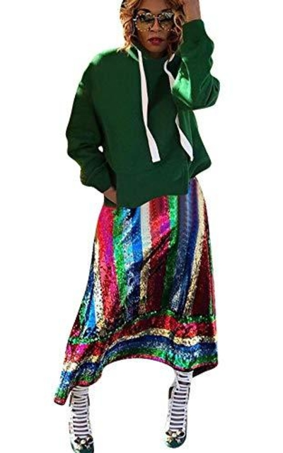 Speedle Sequin Striped A Line Skirt