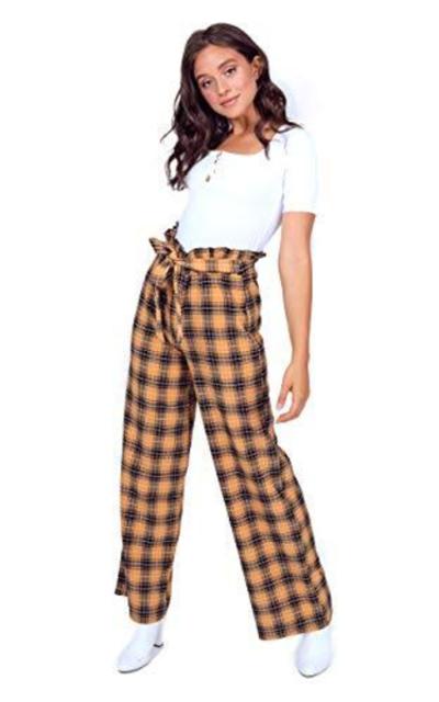 Bebop Plaid Pants with Self Tie Belt