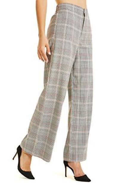 SONJA BETRO Plaid Wide Leg Trouser Pants
