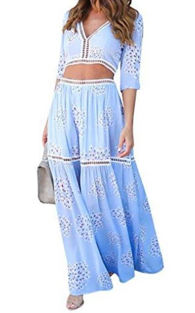 Bigyonger Lace Trim Top + Skirt Set 2PCS