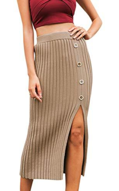 BerryGo High Wiast Stretchy Ribbed Knit Skirt