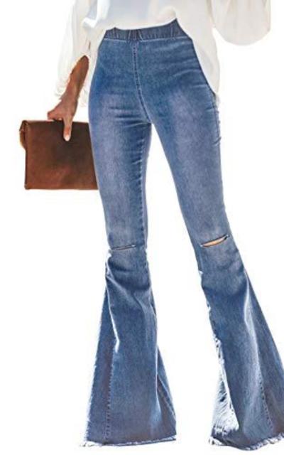 Sidefeel Elastic Waist Bell Bottom Jeans