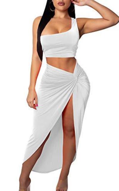 BEAGIMEG One Shoulder Bodycon Slit Skirt 2 Piece Set