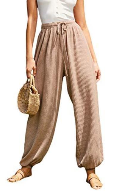SweatyRocks Drawstring Waist Rib-Knit Sweater Pants