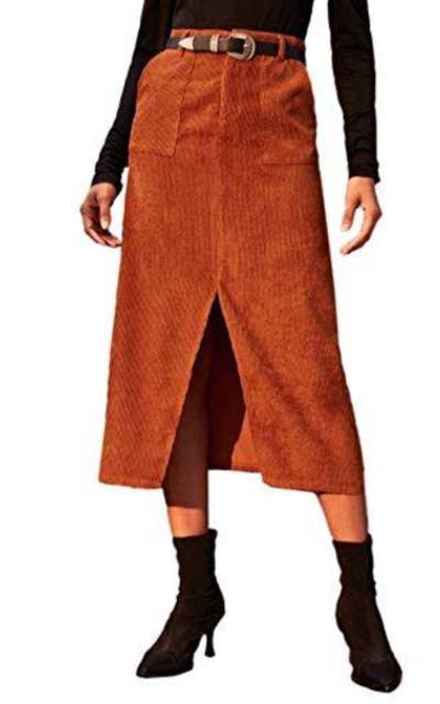 WDIRARA High Waist Corduroy Split Front Skirt