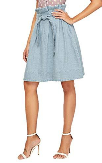 SweatyRocks High Waist Belted A-Line Midi Denim Skirt