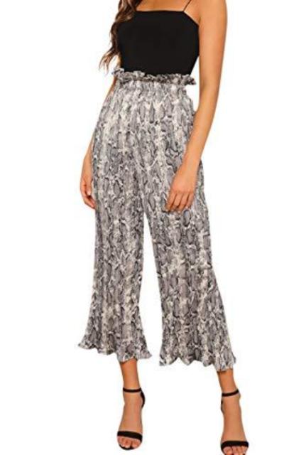 ROMWE Elastic High Waist Pleated Pants