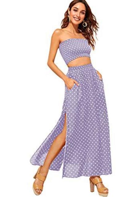 Floern 2 Piece Polka Dot Crop Top with Long Skirt Set