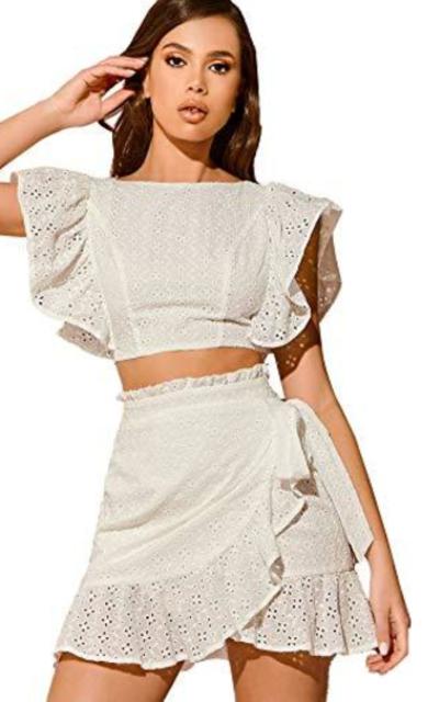 MakeMeChic Ruffle Hem Tie Back Crop Top & Wrap Skirt Set