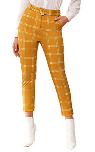 WDIRARA Plaid High Skinny Cropped Pants