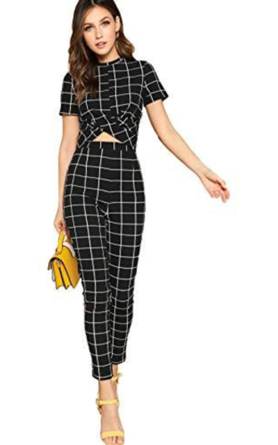 SheIn Cross Wrap Front Top & Skinny Pants Set