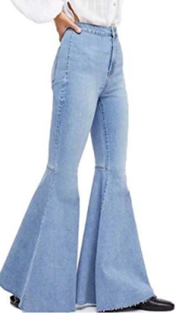LALA IKAI High Waist Big Bell Bottom Denim Jeans