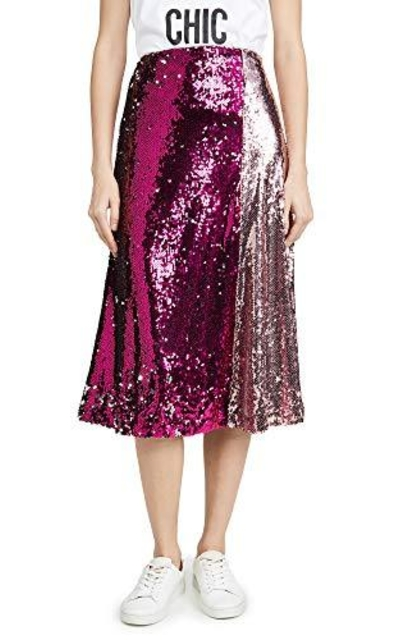 endless rose Colorblock Sequin Skirt