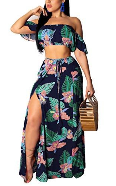 Aro Lora Off Shoulder Floral Printed Side Slit Two-Piece Maxi Dress