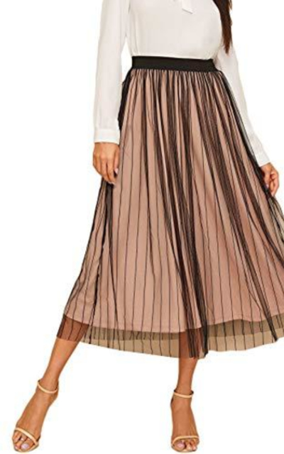Verdusa High Waist Striped Mesh Overlay Skirt