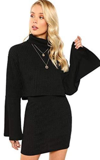 Verdusa Rib-Knit Sweater Crop Top & Skirt Set
