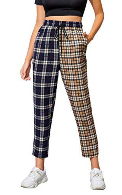 WDIRARA Two Tone Plaid Elastic Waist Pants