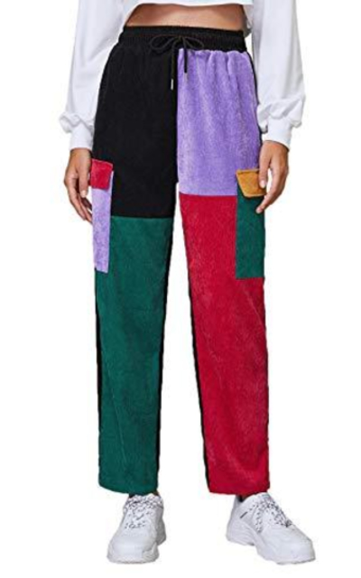 SweatyRocks Color Block Drawstring Waist Corduroy Pants