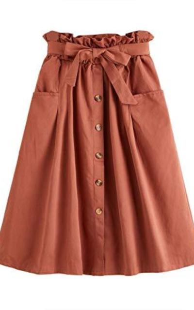 SweatyRocks Elastic Waist Cotton Midi Skirt