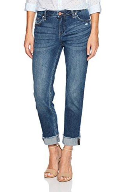 Riders by Lee Indigo Fringe Cuff Boyfriend Jean