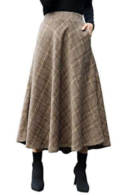 IDEALSANXUN  High Waist Woolen Swing Skirt