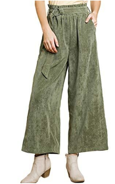 umgee USA Corduroy Paperbag Waist Pants with Belt Tie