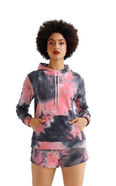 2 Piece Outfits Tie Dye Crop Hoodie Top Pullover Sweat Shorts Sets
