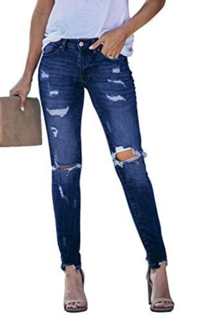 GOSOPIN Distressed Skinny Jeans