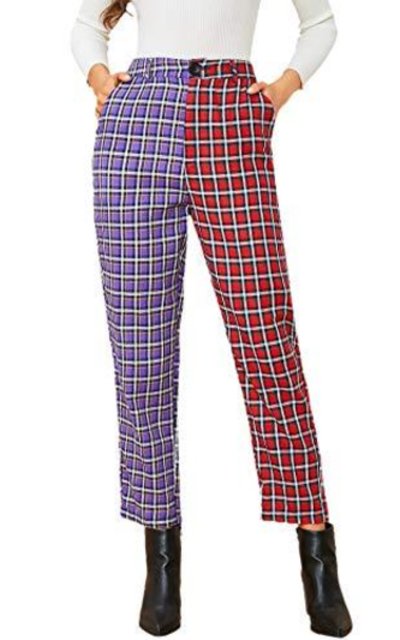 DIDK Slant Pocket Colorblock Plaid Pants