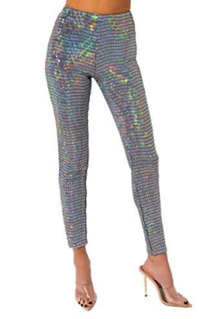 AKIRA Holographic Sequin Skinny Trouser Pant