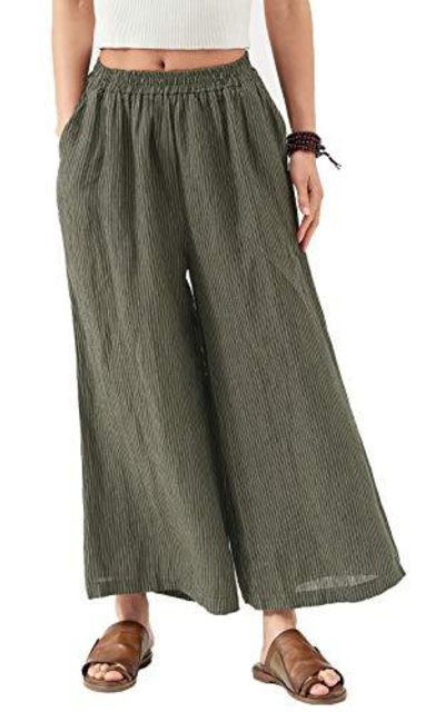 Les umes s Linen Wide Leg Cropped Pants