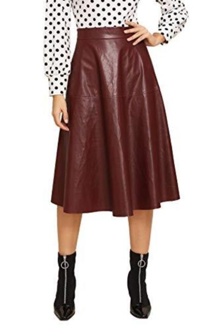 WDIRARA Vintage High Waist Flared Midi PU Skirt