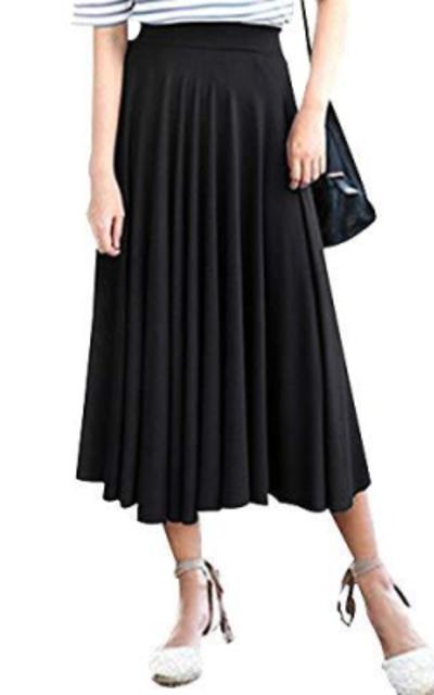 Pleated Modal Midi Skirt
