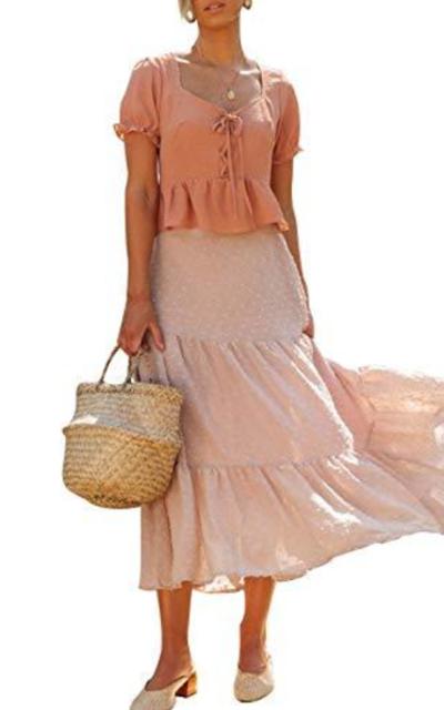 MEROKEETY Elastic Swiss Dot Chiffon Maxi Skirt