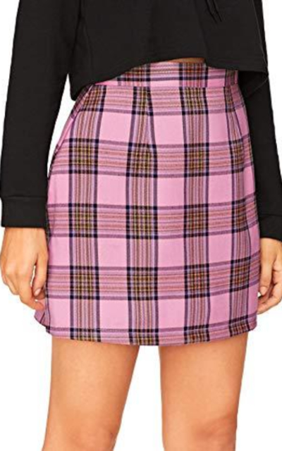 Floerns Plaid Bodycon Mini Skirt