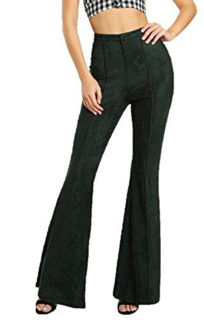 MAKEMECHIC Solid Faux Suede Flare Pants