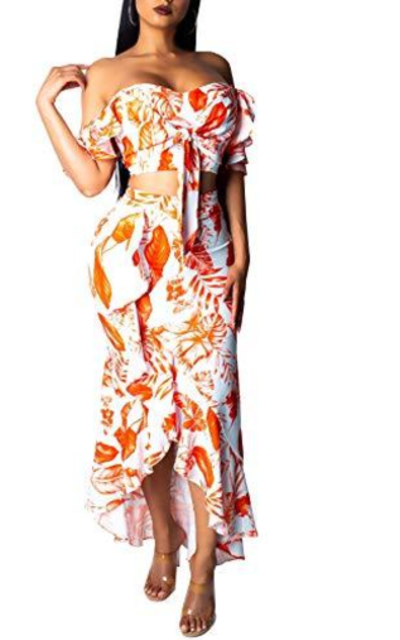 Salimdy 2 Piece Outfit Floral Crop Top and Maxi Skirt Set