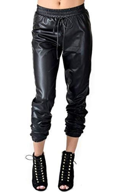 SOHO GLAM Faux Leather PU Jogger Pants with Drawstring