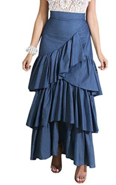 Cosygal Ruffles High Waist Maxi Skirt