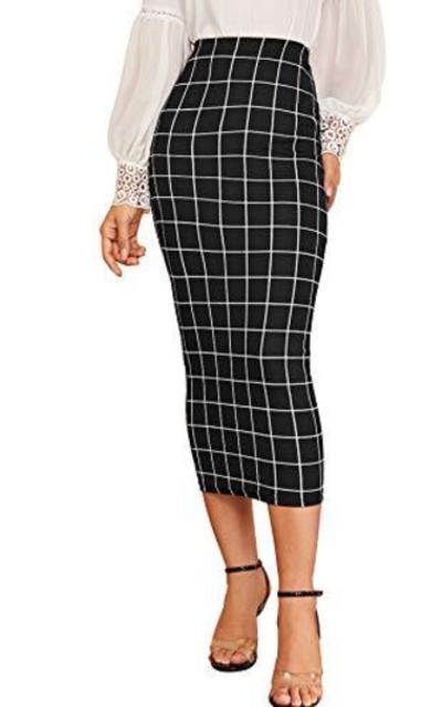 Verdusa Plaid Elastic Waist Bodycon Midi Skirt