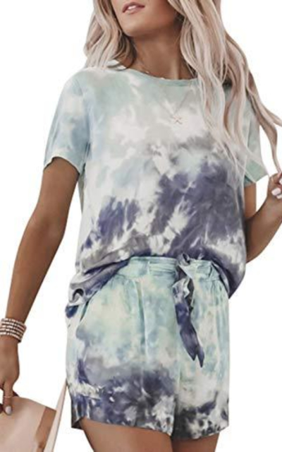 MEROKEETY Tie Dye Printed Tee and Shorts Pajama Set
