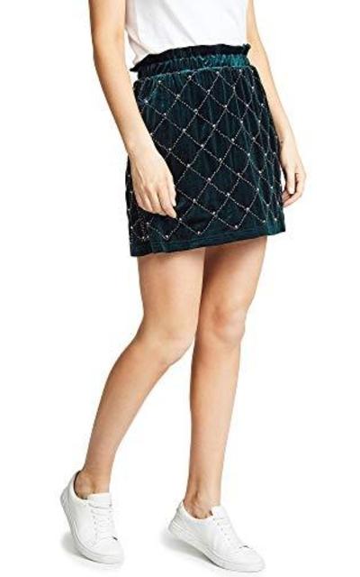 endless rose Beaded Velvet Miniskirt