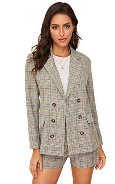 MAKEMECHIC 2 Piece Plaid Double Breasted Lapel Neck Blazer and Shorts Set