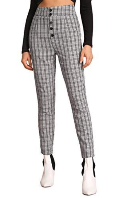 WDIRARA Plaid High Waist Button Front Grids Pants