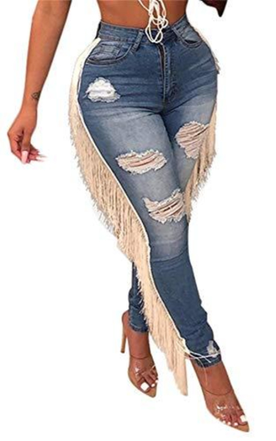 Tassel Stretchy Jegging  Pants
