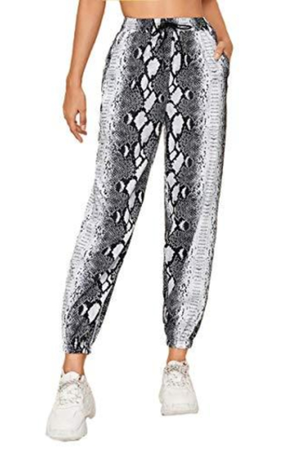 SweatyRocks Drawstring Elastic Waist Snakeskin Sweatpants