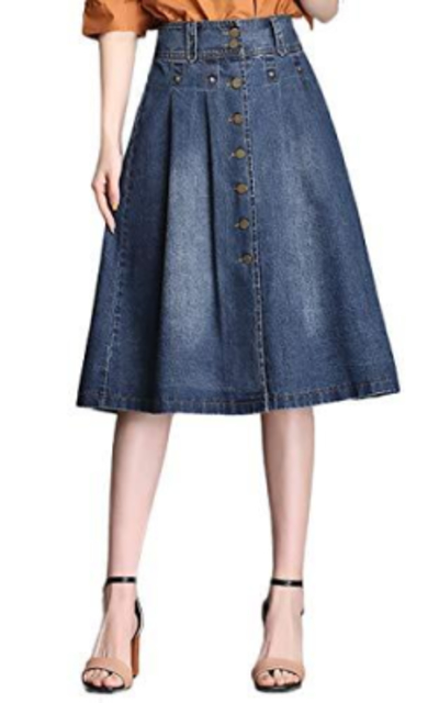Nantersan Button Front Midi Jean Skirt